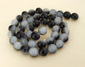 "Charm Black Candy Jade Glass Gemstone Beads ---- 10mm ----about 40beads----about 16"" in length"