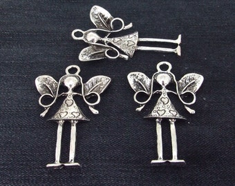 3Beads Charm Charm Angel Girl pendants Antique Silver Victorian Pendants Connector Beads -----36mmx 57mm  ----- 3Pieces-- 2L