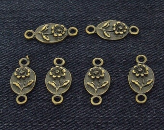 50 Charm Two loops Flowers Pendant  bronze Plated Victorian Pendants Base Link Beads ----- 7mmx 16mm ----- 50 Pieces 2A