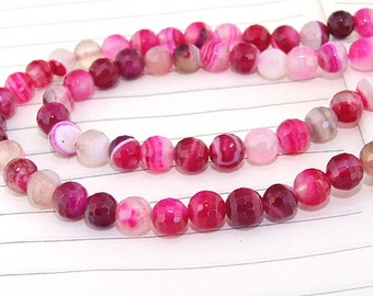 "Newest Round Faceted Full Strand Pink Agate Beads ----- 6mm ----- about 64Pieces ----- gemstone beads--- 15"" in length"