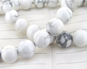 """strand Round White Turquoise Beads ----- 10mm ----- about 40Pieces ----- gemstone beads--- 15.5"""" in length"""