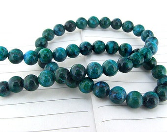 "Charm Round Azurite Chrysocolla Jasper Gemstone Beads--- 8mm ----about 49Pieces----15"" in length"