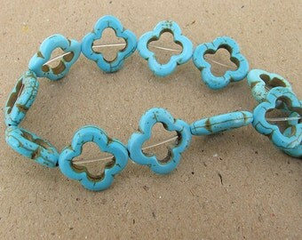 One Full Strand--- Quatrefoil Turquoise Beads----4mm-20mm ----about 20Pieces----15.5inch strand