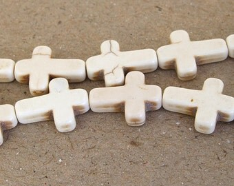 One Full Strand--- Cross White Turquoise Beads----12mm-16mm----about 25 Pieces----15.5inch strand
