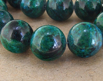 "Charm Big Round turriform Azurite Chrysocolla Jasper Gemstone Beads--- 18mm ----about 23Pieces----15"" in length"
