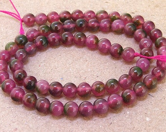 """One Full Strand--- Round Jade Tourmaline Multicolor  Gemstone Beads ----- 6mm ----- about 65Pieces ----- gemstone beads--- 15"""""""