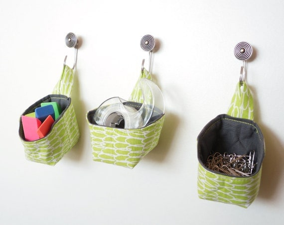 Mini Fabric Baskets, Lime Green Hanging Baskets, Storage Solutions