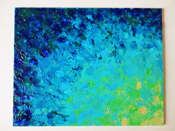 SALE - Original Abstract Painting, 8 x 10 FREE SHIPPING Beach Ocean Water Waves Summer Home Decor Navy Royal Blue Turquoise Teal Lime Green