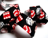 "Gambling Dice Cotton Ribbon Trim, Multi / Black, 1 3/8"" inch wide, 1 yard, For Mixed Media, Scrapbook, Altered Art, Home Decor, Accessories"