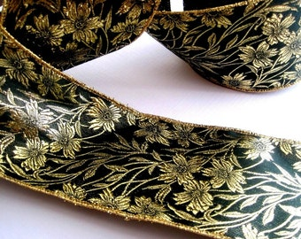 Wired Glitter Floral Ribbon, Green / Gold, 2 1/2 inch wide, 1 yard, For Gift Packing, Wreaths, Center Pieces, Home Decor, Romantic Crafts.