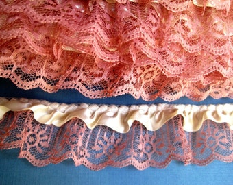 "Gathered Ruffle Lace with Ribbon, Ivory / Rose, 7/8"" Ribbon with 2"" Lace, 1 yard For Costumes, Dolls, Accessories, Decor, Scrapbook"