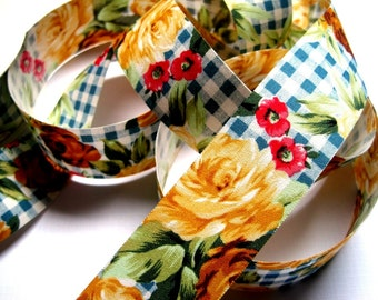 "Rose Gingham Cottage Cotton Ribbon Trim, Multi Color / Blue, 1 3/8"" inch wide, 1 yard, For Victorian & Romantic Crafts"