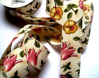 "Cottage Floral Cotton Ribbon Trim, Multi / Natural, 1 3/8"" inch wide, 1 yard, For Victorian & Romantic Crafts"