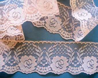 "Feminine Lace Trim, Pink - Peach, 2 5/8"" inch wide, 1 Yard, For Victorian & Romantic Projects"