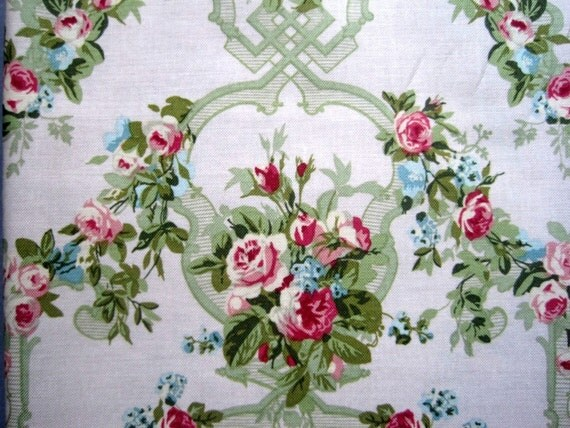 "Floral Wallpaper Fabric, Fat Quarter, Multicolor / Pale Pink, 18"" X 22"" inches, 100% Cotton, For Victorian & Romantic Projects"