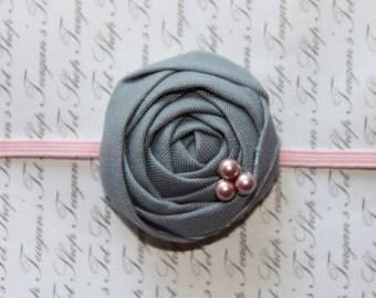 Gray and Pink Rosette Baby Flower Headband, Newborn Headband, Baby Flower Headband, Baby Girl Flower Headband, Photography Prop