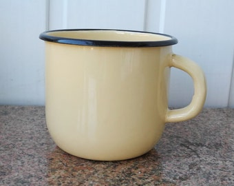 Vintage Soviet enamelware mug, cup yellow and black from USSR   3 pieces