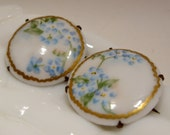 Pair of Vintage Hand Painted Forget-Me-Not Porcelain Pins
