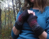 Colorful Gypsy Fingerless Gloves Pure Wool Handknitted