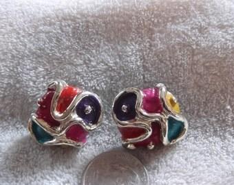 Vtg Clip On Earrings-Funky Designed-C1710