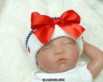 Red, White, & Blue Sailor Hat - crochet