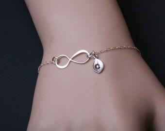Infinity initial bracelet,leaf Initial bracelet,Couple,infinity bracelet,Anniversary,sisterhood,customize birthstone,wedding