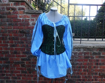 Custom made ladies half length medieval Long sleeve chemise with trim