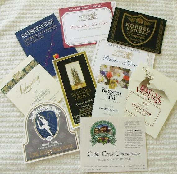 Vintage Unused Wine Labels- Set3-10 Total 1987-1991 -CA, OR, WI