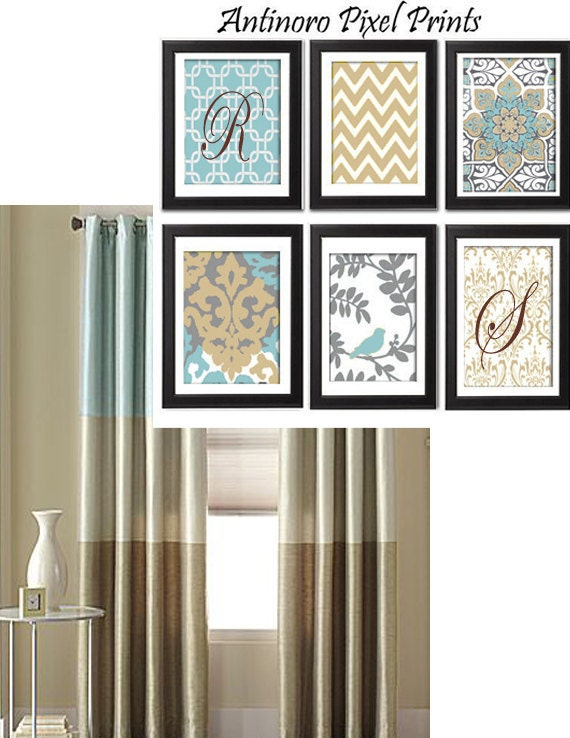 Personalized Initial Slate Taupe Vintage / Modern inspired  Art Prints Collection -Set of 6 - 8x11 Prints -   (UNFRAMED)