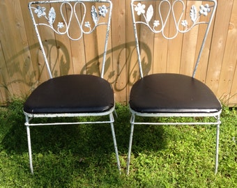 Pair of Vintage wrought iron chairs