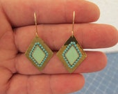 Dangle Turquoise  Earrings with gold hammered diamond shape .-Color of fashion  summer 2012.Gold-filled earwire
