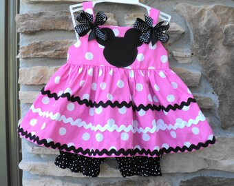Custom Boutique  Classic Pink Minnie Mouse Inspired Dress w/Bloomers  Sizes 0-6mo, 6-12mo, 12-18mo, 18-24mo, 2t, 3t, 4t, 5/6, 7/8