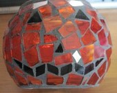 Sweet Mosaic Candle with Face on it Pumpkin Candle