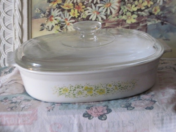 Reserved Ware Baking Dish 1 1/2 QT Yellow and green flowers