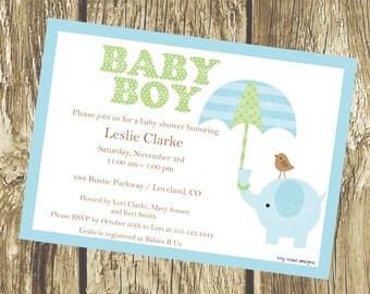 Elephant Baby Shower Invitations - Blue (Baby Boy), DIY Printable, digital file (item 1038)