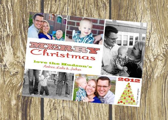 Merry Christmas Holiday Cards, Christmas Cards, DIY Printable, digital file (item 1088)
