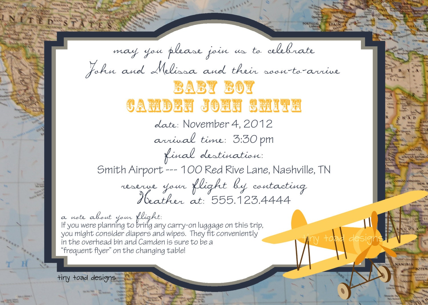 Aviation Map Baby Shower Invitations or Going Away Party