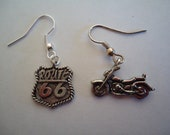 Route 66 & Motorcycle mismatch earrings