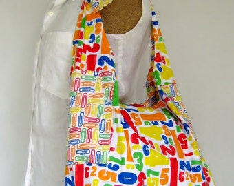Teacher School Bag, Medium, Tote Bag, Reversible, Adjustable Straps, Bright Colors, Washable Purse, Kids Bag, Diaper Bag