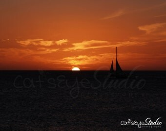SAILBOAT Sunset Landscape Photo,  Aruba Carribean Sailboat Silouette Ocean Sunset, Orange Red Black Seacape