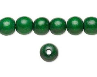 10 Wood Beads, Green, Round, 8mm, Pkg/10