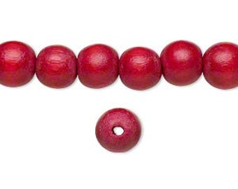 10 Wood Beads, Cranberry, Round, 8mm, Pkg/10