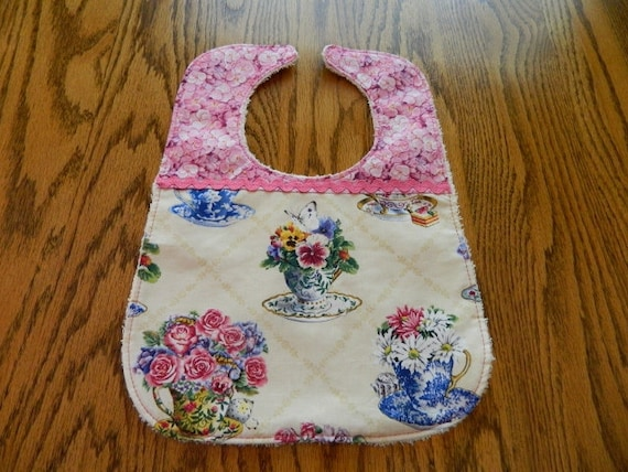 Baby Bib with Teacups and Flowers by Mimi's Magic Apron