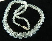 Cut Crystal Bead Necklace Vintage Bridal Necklace Shiny Crystals