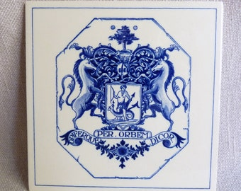 Vintage Delft Blue Tile - Holland Unicorn Tile - Pharmasist GIft Tile