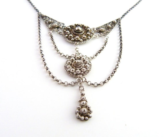 RESERVED for Jess - Art Deco Silver Filigree Necklace - 800 Silver Necklace