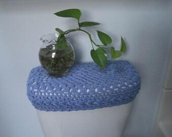 Crochet Toilet Tank Lid Cover, Cozy - blue bell (TTL4B)