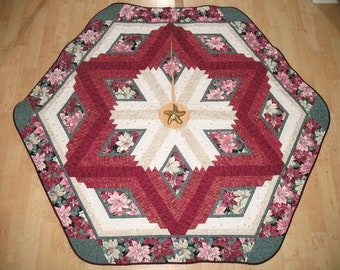 Quilted Christmas Tree Skirt Burgundy Poinsettia 117