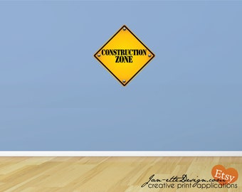 Kids Wall Decals,Road Sign Wall Decal, Construction Zone Sign, Removable Wall Sticker