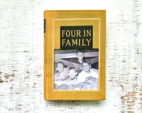 vintage book picture frame. READABLE vintage book as unique photo frame. Four in Family, 1913.  chartreuse, yellow green.